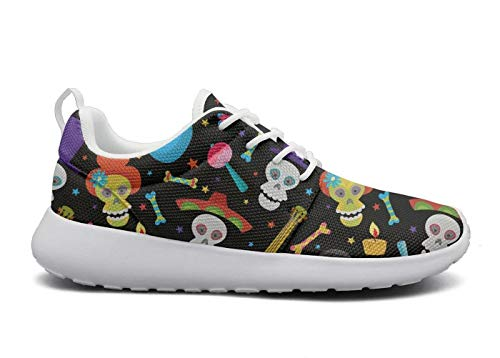 Eoyles gy Colorful Skull for Day of The Dead Pretty Women Slip Resistant Lightweight Running Gym Shoes