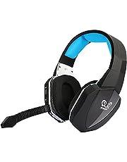 HUHD HW-398 Fibra-Ottica Senza fili 2.4ghz Stereo Cuffia da giochi oltre-orecchi Cuffie per Xbox 360 PS4 Con il microfono staccabile e l'audio digitale (Blu)