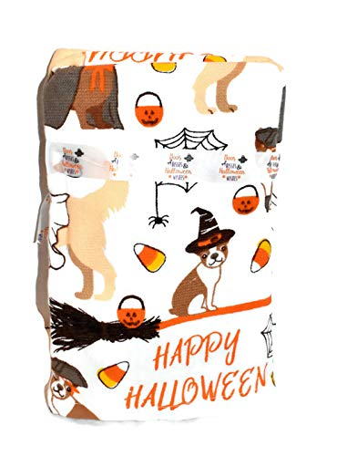 New 2pc Set FRENCHI French Bulldog LAB Dogs Dressed in Halloween Costumes with Pumpkins & Candy Corn Kitchen OR Bathroom Dish Hand Towel -