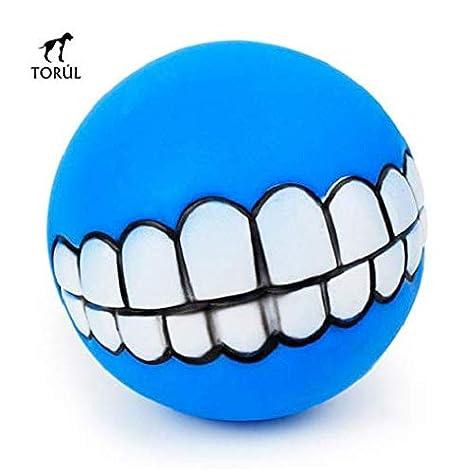 Torúl Juguete Bola de Goma Sonrisa Dentadura para Mascotas Perro 7,5cm diámetro (Azul