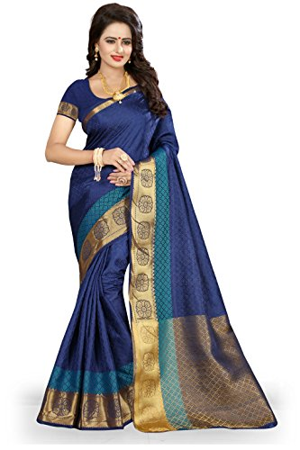 NIRJA CREATION WOMEN'S COTTON SILK BANARASI SAREE(FLOWER)