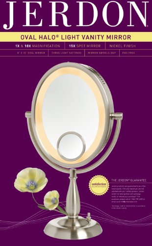 Jerdon Hl9510n 8 Inch X 10 Inch Oval Lighted Vanity Mirror