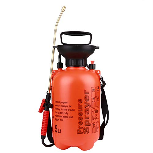 Moutik Garden Sprayer Hand Held Compression Sprayer Portable Pump 1.3 Gal Sprayer for Mild Cleaning Solutions with Shoulder Strap (5L/1.3 Gallon, Orange) ()
