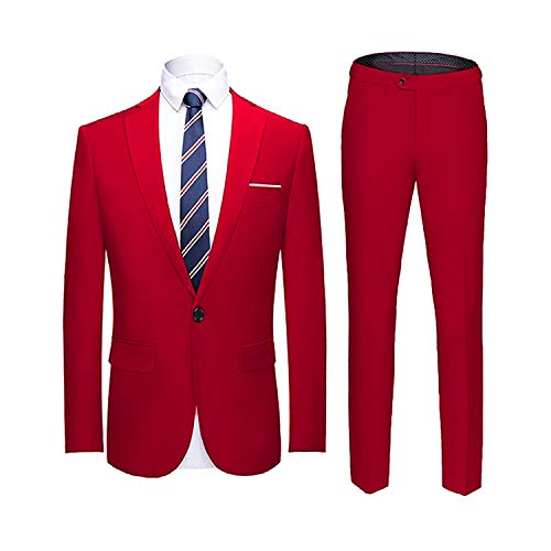 YIMANIE Men's Suit Slim Fit One Button 2 Piece Suit Tuxedo Business Wedding Party Casual Red