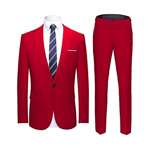 (YIMANIE Men's Suit Slim Fit One Button 2 Piece Suit Tuxedo Business Wedding Party Casual Red )