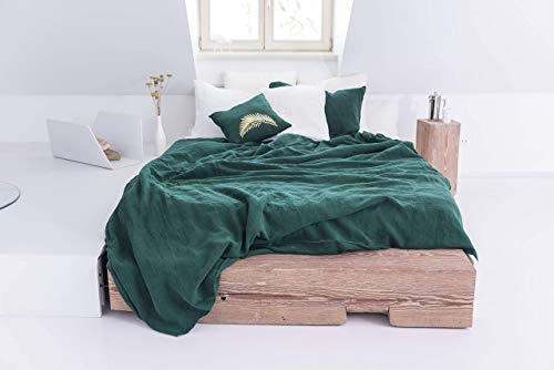 (Linen Duvet Cover In Emerald Green Color. Stone Washed, Softened Linen Bedding. Handmade Bed Linens, Custom Size Bedding, Lithuanian Linen)