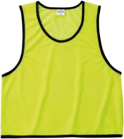 スポーツ、イベント、スクール、体育など さまざまな用途に使える メッシュ ピブス (ベスト型ゼッケン) 蛍光イエロー L(F)
