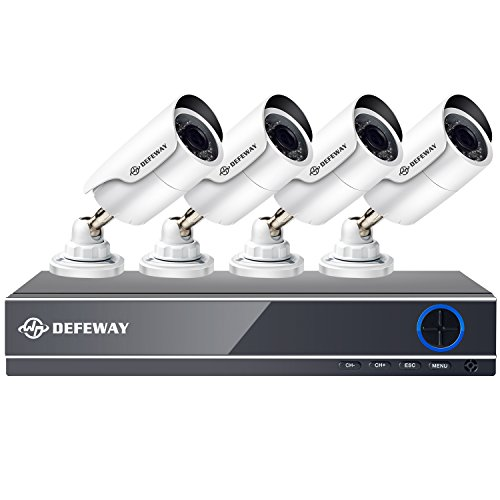 DEFEWAY 1080P 8CH Security Camera System, 8 Channel 1080P Surveillance DVR with 4pcs 2.0MP Waterproof Video Security Cameras,Hard Drive not included by Defeway
