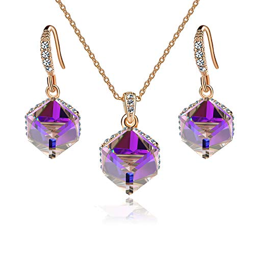 EVEVIC Colorful Cubic Swarovski Crystal Pendant Necklace Earrings Set for Women Girls 14K Gold Plated Jewelry Set (Purple Crystal/Rose Gold-Tone)