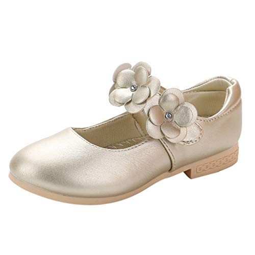 - Orfilaly Baby Girls Casual Princess Shoes,Toddler Kids Summer Flowers Low Heels Sandals Evening Prom Shoes for 3-12 Years Gold