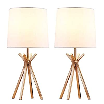 "CASILVON Simple Design Living Room Bedroom Set of 2 Gold Metal Base Bedside Table Lamp, Table Lighting with TC Fabric Shade Desk Lamps - 【MODERN DESIGN】Bright satin golden finish base with clean lines design and simplistic style white TC fabric lampshade will create a warm and cozy atmosphere for your room. 【LAMP SIZE】Diameter 7.08"" and Height 15.35"", please note the size before your purchase. 【VOLTAGE】Input AC110-120V, E26-base bulb 60W max (Bulbs are not included) - lamps, bedroom-decor, bedroom - 41K6U9tMfjL. SS400  -"