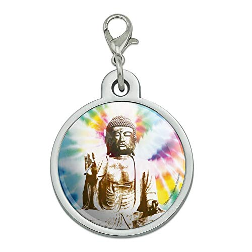 GRAPHICS & MORE Tie Dyed Buddha Serenity Chrome Plated Metal Pet Dog Cat ID Tag - Large