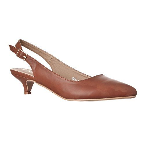 (Riverberry Women's Bella Pointed Toe Sling Back Low-Height Pump Heels, Brown PU, 9)