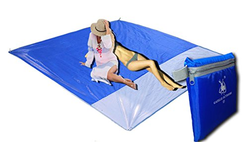 HaoMA Pocket Outdoor Picnic Sports Camping Travelling and Sand Beach Play Blankets Sheet Waterproof Damp-proof and no Sand Perfect Oxford Cloth Large Size Mat (79 x 79 inches) for 4-6 People (Blue)