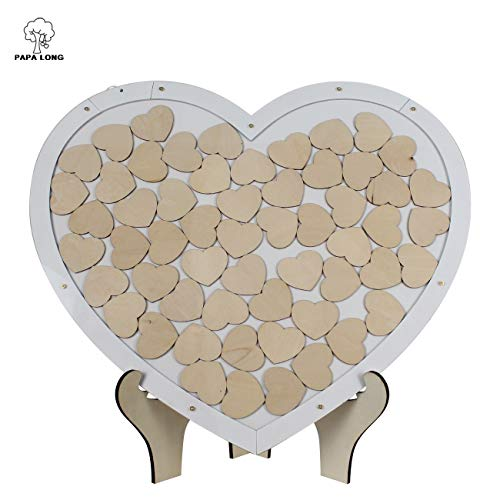 PAPA LONG Wood Heart Top Drop Wedding Guest Book with Stand Including 58pcs Heart Cutouts in 1.6inch Width - Alternative Guest Book for Vistors - Wood Frame Guestbook for Memorial Services