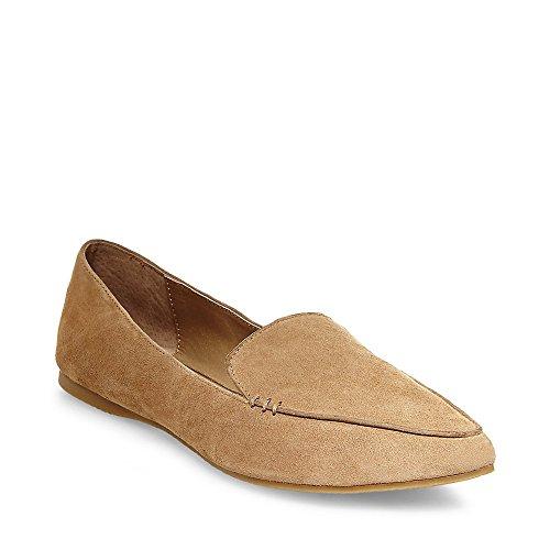 Steve Madden Women's Feather Loafer Flat, Camel Suede, 7.5 M (Steve Madden Flat Boots)