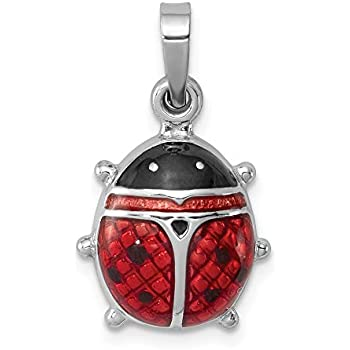 Sterling Silver Womens 1mm Box Chain 3D Red Enameled Lady Bug Pendant Necklace