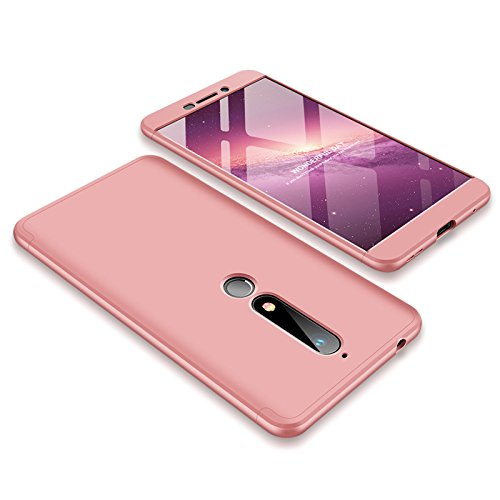 (Nokia 6.1 Case [NOT for Nokia 6] Lisuixi 3 in 1 360 Full Body Hard PC Ultra Thin Matte Surface Case Encase Combined Durable Anti-Slip Ultralight Slim Business Man Cover for Nokia 6 2018 Rosegold)