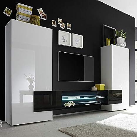 Kasalinea Conjunto Muebles TV Blanco y Negro Lacado Brillante Eros 3: Amazon.es: Hogar