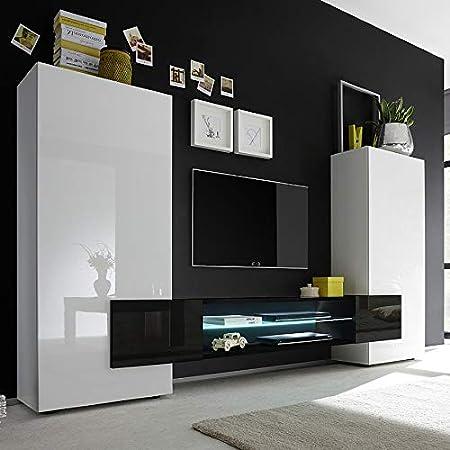 Kasalinea - Conjunto de muebles para TV (lacada brillante), color blanco y negro, blanco, L 258 x P 37 x H 143 cm: Amazon.es: Hogar