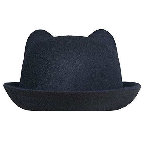 Lujuny Cat Ear Wool Derby Hats - Cute Bowler Fedora Caps with Roll-up Brim for Women Youth (Black)