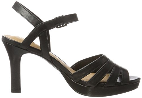 con Donna 26123088 Black Leather Sandali Clarks Tacco Nero Tnwp1qfq