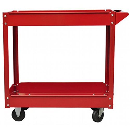 SKB Family 2 x Workshop Tool Trolley 220 lb 2 Shelves Heavy Duty Utility Parts Rolling Cart