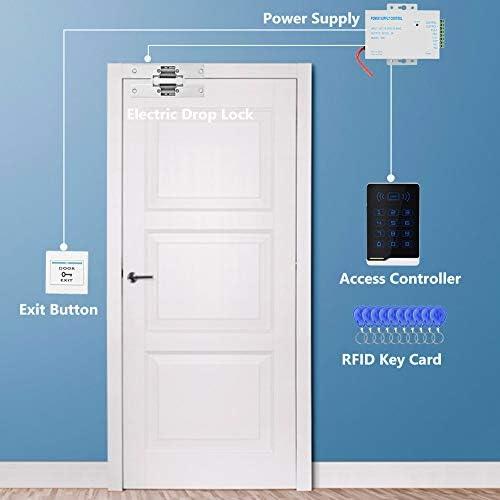 Kit de Sistema de Control de Acceso con Cerradura Magnética Eléctrica 500KG, 12v DC 30W Fuente de Alimentación, Teclado de Proximidad RFID, 10 Botón de Acceso, 10 Tarjeta de Control de Acceso: