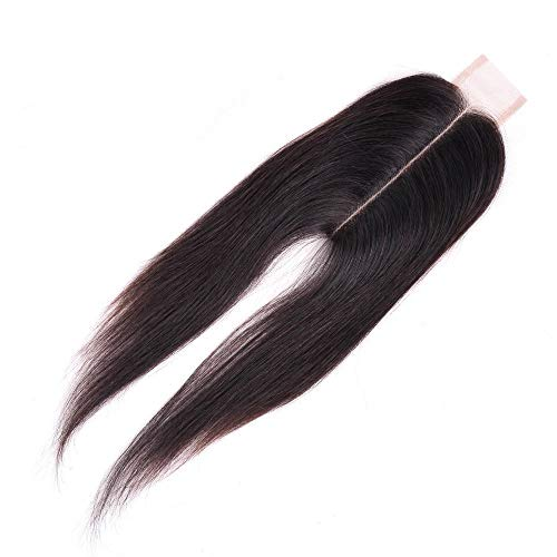 XUNHANG Brazilian Virgin Human Hair Middle Part Straight Lace Closure 2X6 Straight Hair For Women Fashion (Color : Black, Size : 18 inch)