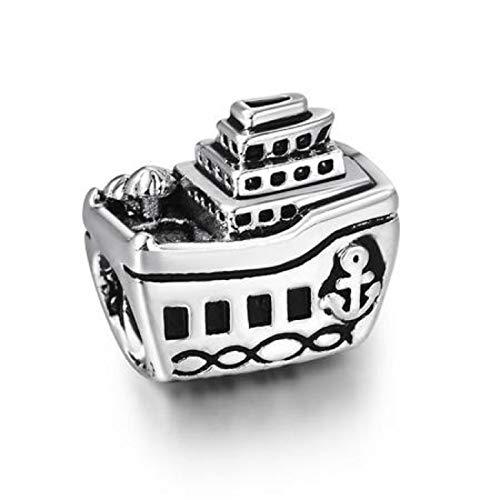 EVESCITY Silver Cruise Ship Boat Note Bead Sterling Charm Fits Pandora & Similar Bracelets