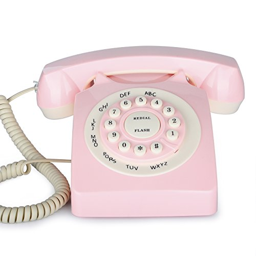 Rotary Corded Phone, BNEST Vintage Land line Desk Phone Classic Home Deocration Phone for Bedroom Living Room Office Decor (Pink)