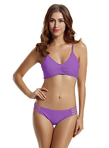 zeraca Women's Strap Side Bottom Halter Racerback Bikini Bathing Suits (FBA) (X-Large / 18, Purple Hebe) ()