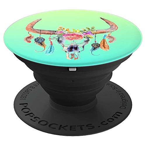 Lovely Watercolor Cow Skull With Flowers Boho Art - PopSockets Grip and Stand for Phones and Tablets