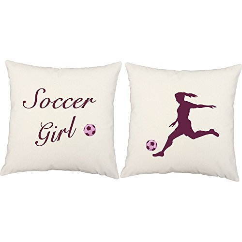 Set of 2 RoomCraft Soccer Girl Player White Indoor 20x20 Square Accent Throw Pillows by RoomCraft