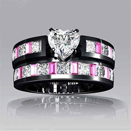FidgetFidget Austrian Crystal Corundum Heart Band Ring Sets 18K White GP Bridal Black&Pink Stone 8