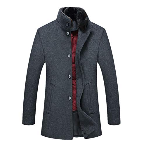 Icegrey Mens Gentle Band Collar Quilted Liner Single Breasted Wool Blend Pea Coat Jacket Grey L