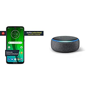 Moto G7 with Alexa Hands-Free (White) + Echo Dot (Charcoal) Bundle