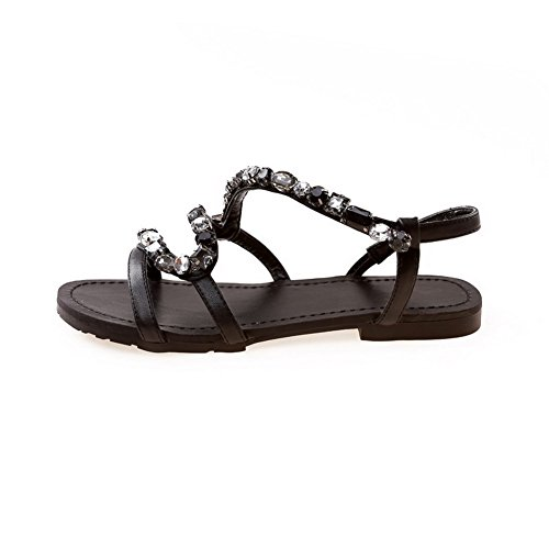 Amoonyfashion Donna Materiale Morbido Open Toe Tacchi Bassi Tira Su Solidi Sandali Neri