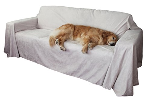 Floppy Ears Design Simple Faux Suede Couch Cover Protector (XXL for Extra Long Couches, Sand) ()