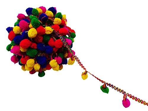 Indian Multicolor Home Decor Bollywood Pom-Pom Trim Fringe Lace Sari Bobble Ribbon 2 Yard -