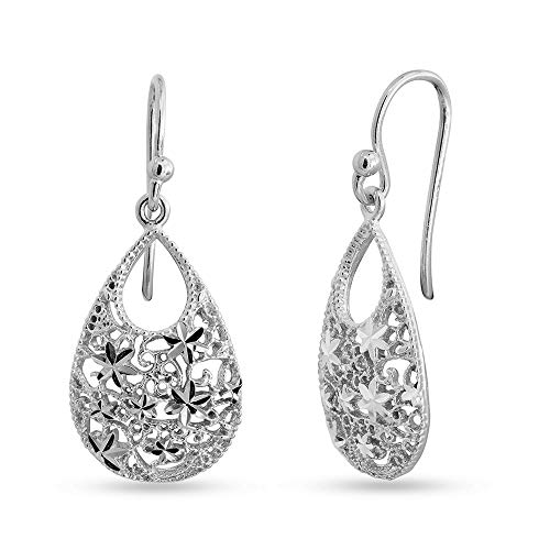 LeCalla Sterling Silver Jewelry Turkish Double Tear Drop Diamond Cut Earring for Women