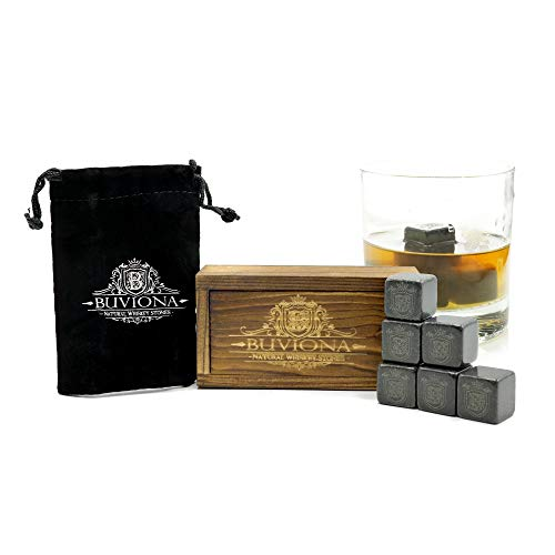 Whiskey Stones - Cooling Drink Stones - Scotch Rocks - Carved from Pure Granite Rock - No Water Needed - Suitable for Any Drinks - Great Gift Idea - Easy to Use & Maintain