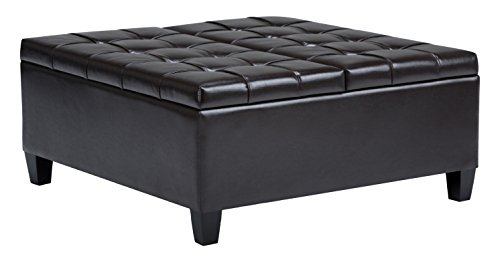 Simpli Home AXCOT-265-BR Harrison 36 inch Wide Traditional Square Storage Ottoman in Tanners Brown Faux Leather