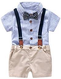 Toddler Baby Boys Infant Gentleman Bowtie Shirt+Suspenders Overalls Rompers Bodysuits Set
