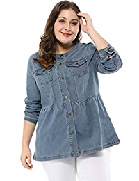 Agnes Orinda Women's Plus Size Button Closure Collarless Peplum Denim Jacket