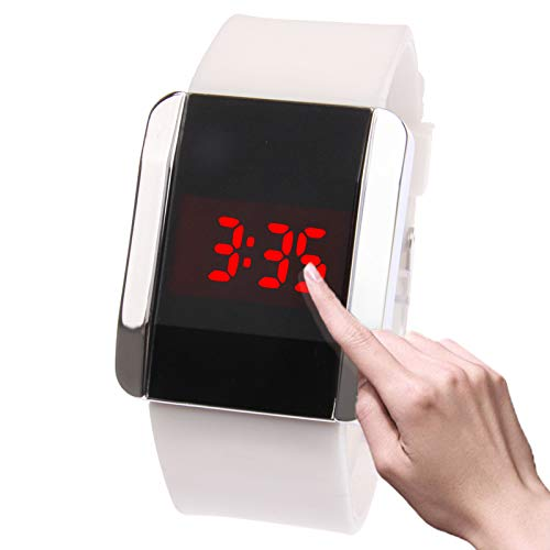 Fashionable Red LED Digital Bangle Wrist Watch & Rubber Strap for Both Male and Female (White) Premium Quality by GuiPing