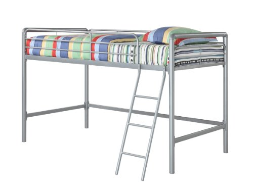 DHP Junior Loft Bed Frame With Ladder, Multifunctional Space-Saving Design, Silver by DHP