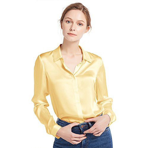 LilySilk Women's 100 Silk Blouse Natural Long Sleeve Lady Shirt 22 Momme Pure Charmeuse Silk Gold S/4-6