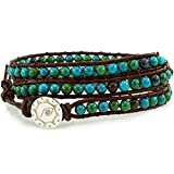 BLUEYES COLLECTION ''Amicable Blue Mix Green ChrysocollaGemstone Beads Genuine Leather Bracelet, 3 Wraps