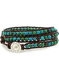 BLUEYES COLLECTION Amicable Blue Mix Green ChrysocollaGemstone Beads Genuine Leather Bracelet, 3 Wraps